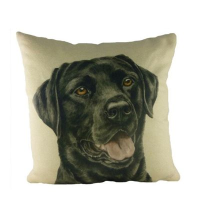 Evans Lichfield WaggyDogz Black Labrador Filled Cushion with Country Check