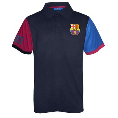 FC Barcelona Mens Contrast Sleeve Polo Shirt Small