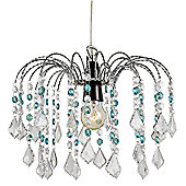 Crystal Effect Pendant Shade with Transparent and Teal Droplets