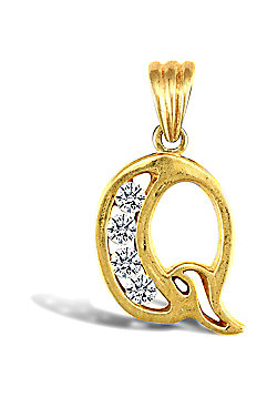 Jewelco London 9ct Gold CZ Initial ID Personal Pendant, Letter Q - 2.2g