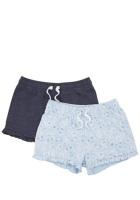 F&F 2 Pack of Floral and Plain Ruffle Hem Shorts Multi 5-6 years