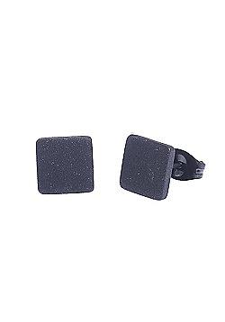 Urban Male Stainless Steel Matte Black Square Stud Earrings 10mm For Men