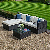 Zebrano - Outdoor Garden 3 Seat Sofa Set with Coffee Table and Footstool - Brown