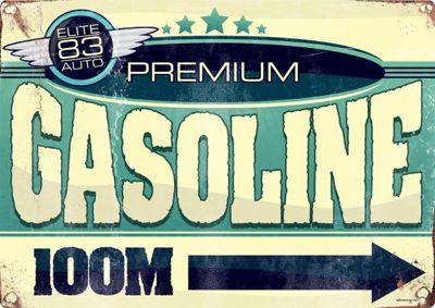 Premium Gasoline 100m Tin Sign