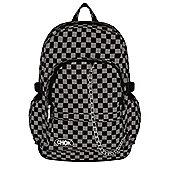 Chok Black & Grey Checker Canvas Backpack 29x42x13cm