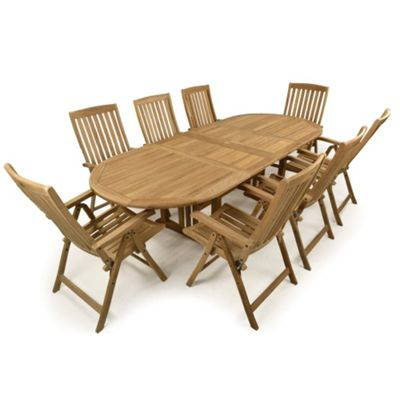 Rutland 8 Seater Double Extending Teak Set - Outdoor/Garden table and Chair set.