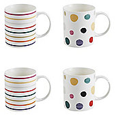 Set of 4 Rustic Spot and Stripe Mugs