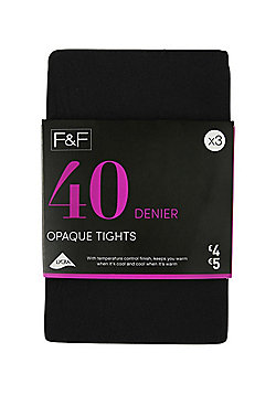 F&F 3 Pack of 40 Denier Tights - Black