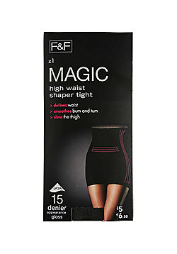 F&F Magic High Waisted Shaper 15 Denier Tights with Lycra® - Black
