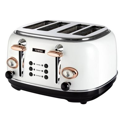 Tower-T20017W 4-Slice Toaster with Variable Browning and Crumb Tray in White