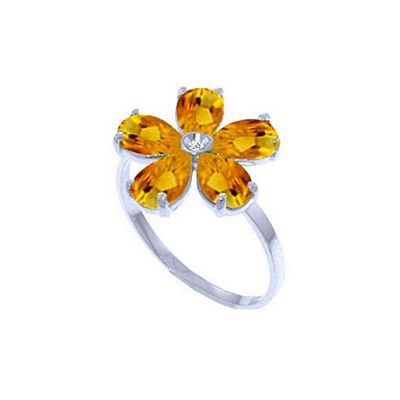 QP Jewellers Diamond & Citrine Foliole Ring in 14K White Gold - Size A