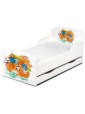 PriceRightHome Noah's Ark Animals Toddler Bed with Storage & Foam Mattress