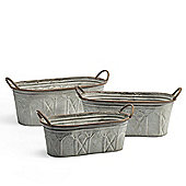 Fabulous Set of 3 Lucas Troughs for Garden Planting, zinc alloy with impressed pattern