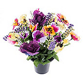 Homescapes Purple, Red and Yellow Artificial Flowers Pansy and Rose Grave Vase