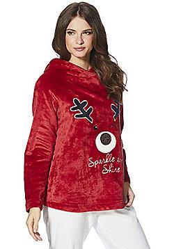 F&F Reindeer Fleece Cosy Hooded Top - Red