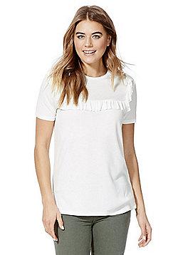 F&F Frill Trim Marl T-Shirt - White