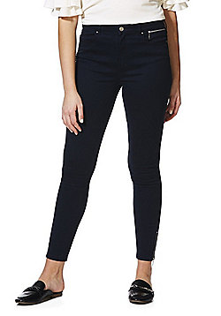 F&F Mid Rise Zip Ankle Twill Skinny Trousers - Navy