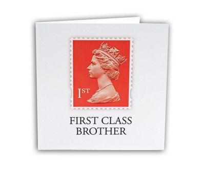 STAMP COLLECTION - Greetings Card - First Class Brother