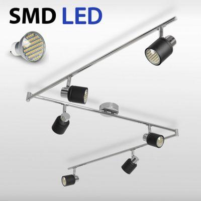 Benton Six Way Adjustable LED Ceiling Spotlight, Black & Chrome