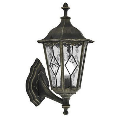 Imperial outdoor light wall black/gold & lead glass