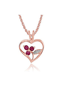 Gemondo Rose Gold Plated Sterling Silver 0.18ct Ruby Heart Pendant on Chain