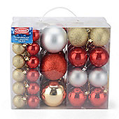Christow 106 Assorted Christmas Baubles - Gold, Silver & Red