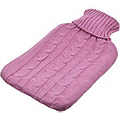 Full Size Hot Water Bottle with Arran Knitted Removable Washable Cover - Pink