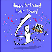 Happy Birthday, Four Today Boys Greetings Card