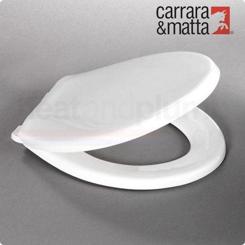 Carrara and Matta Caribbean Thermoplastic Heavyweight Toilet Seat, White, Top Fix Hinges