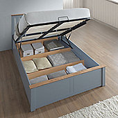 Happy Beds Phoenix Wooden Ottoman Storage Bed with Orthopaedic Mattress - Stone grey