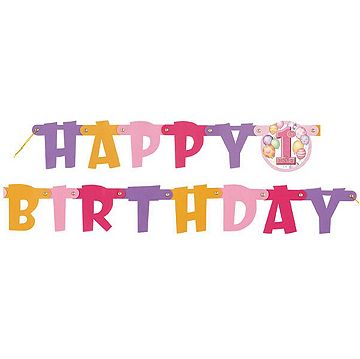 First Birthday Balloons Pink Jointed Banner Catalogue Number 224 7814