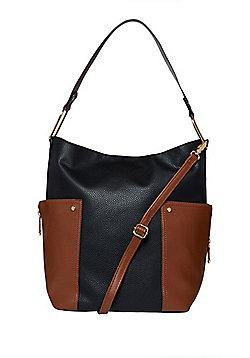 F&F Colour Block Zip Detail Hobo Bag