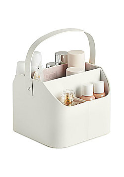Beautify Faux Leather Makeup Caddy with Carry Handle - Cream with Pink Velvet Lining