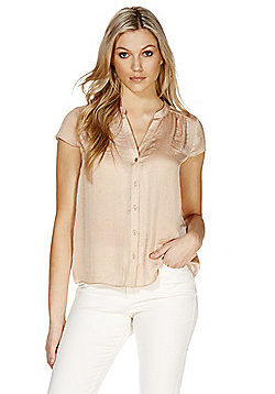 F&F Hammered Satin Y-Neck Blouse - Champagne