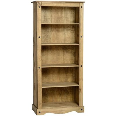 corona mexican tall bookcase distressed waxed pine