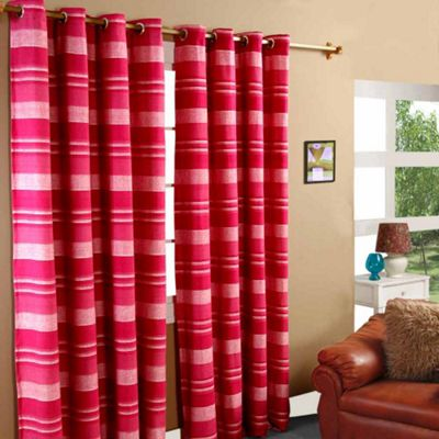 Homescapes Cotton Morocco Striped Pink Curtain Pair, 46 x 54
