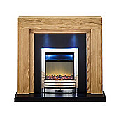 Adam Montana Fireplace Suite in Oak with Eclipse Electric Fire in Chrome