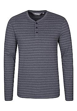 Mountain Warehouse Henley Mens Stripe Long Sleeve Top - Grey