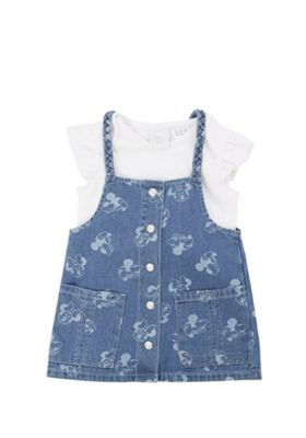 Disney Minnie Mouse Frill Bodysuit and Pinafore Set Blue/White 0-3 months