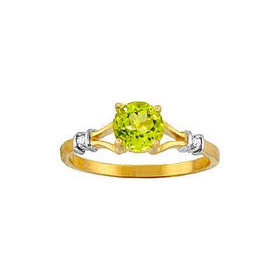 QP Jewellers Diamond & Peridot Aspire Ring in 14K Gold - Size D