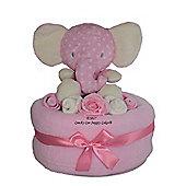 Large Pink baby Girl Spotty Safari Elephant Nappy Cake