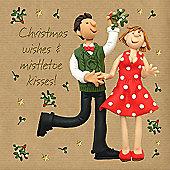 Holy Mackerel Greeting Card - Christmas Card - Christmas Wishes & Mistletow Kisses