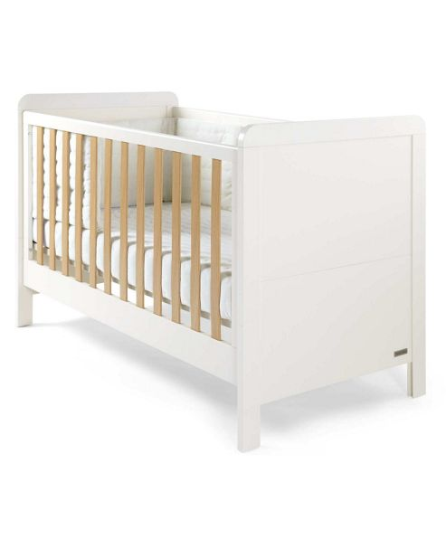 Mamas & Papas - Rialto - Cot/Toddler Bed - Ivory White with Natural Oak Effect Trim