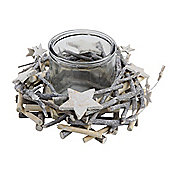 Glittery White-washed Twig, Star & Glass Christmas Candle Holder