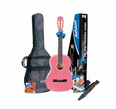 Ashton SPCG34PK ¾ Size Classical Guitar Starter Pack (Pink)