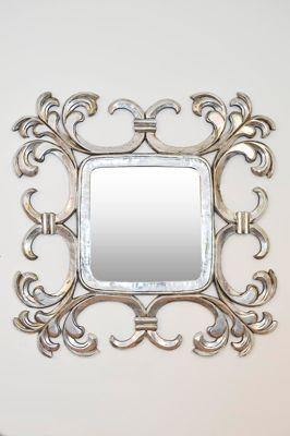 Large Silver Square Decorative Swirl Design Mirror 4Ft X 4Ft 121Cm X 121Cm
