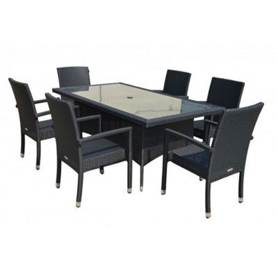 Rio (Armed) 6 Chairs And Large Rectangular Table Set in Black
