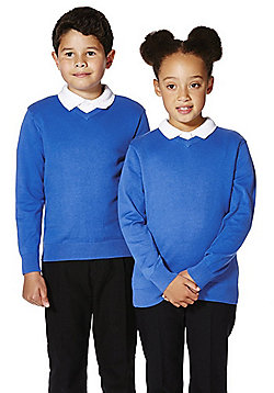 F&F School Unisex V-Neck Jumper with As New Technology - Blue