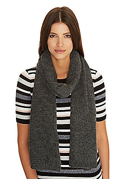 Pieces Knitted Scarf With Wool - Grey