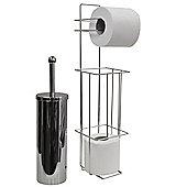 Valencia - Chrome Toilet Brush + Loo Roll Dispenser - Silver